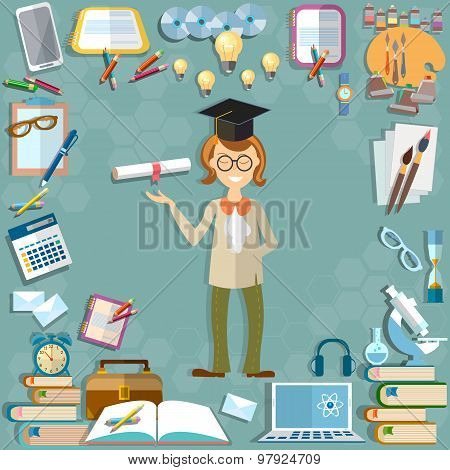 Back To School Student Education School Subjects Textbooks Notebooks Learning Lessons Teacher