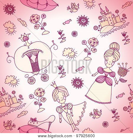 Vector seamless background for kids. Pink seamless background ca