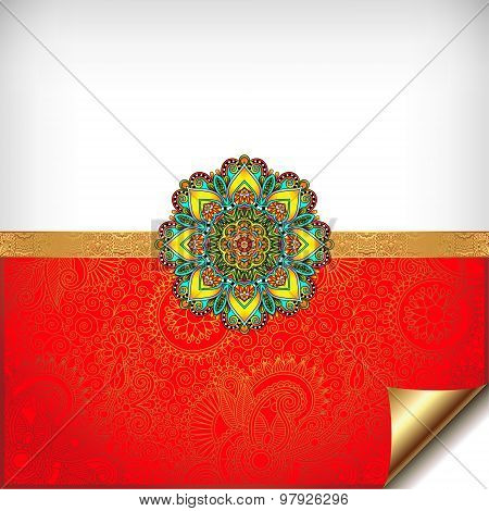 gold and red Happy Rakhi greeting card