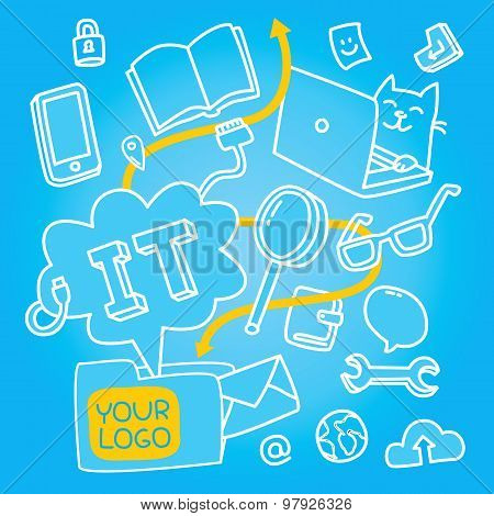 Information technologies seamless pattern about programers life and teamwork