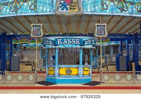 Amusement Park Ride Ticket Window in Germany with Decorations poster