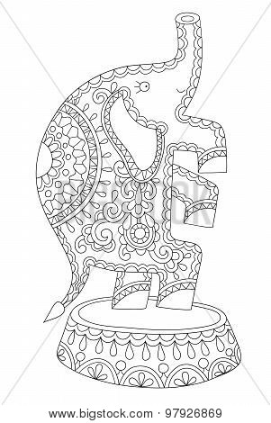 black and white line art illustration of circus theme - elephant