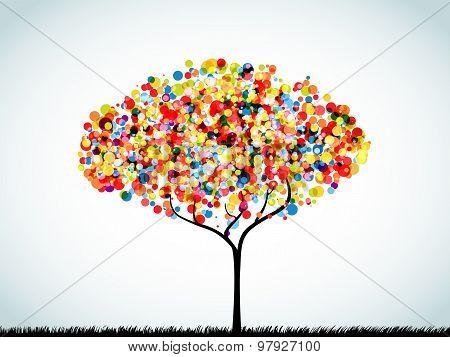 Rainbow Button Background Tree