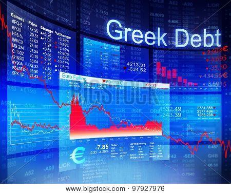 Greek Debt Crisis Economic Stock Market Banking Concept