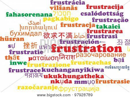 Background concept wordcloud multilanguage international many language illustration of frustration poster