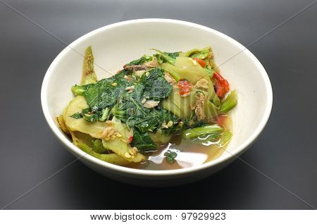 Stir fry chinese kale, cabbage with anchovy and red chili poster