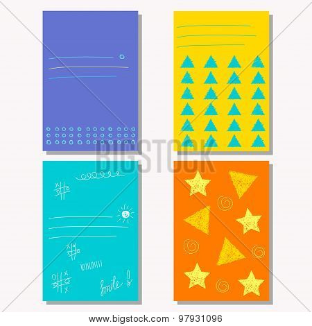 Hand-drawing Doodle Patterns Set. Abstract Geometric Cartoon Childish Backgrounds