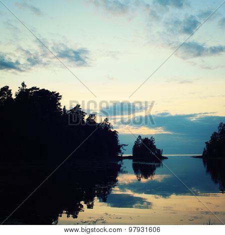 Wild Nature Of Russian North. Lake And Pine Trees.