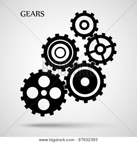 black toothed gears ( cogs ) is meshed on gray background. vector illustration eps10