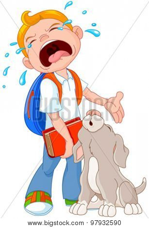 Illustration of crying boy with dog walking to school