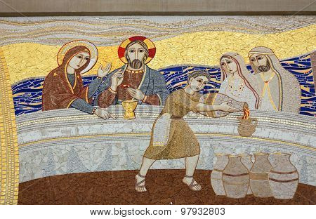 KRAKOW, POLAND - MAY 31, 2015: Cracow Lagiewniki - The centre of Pope John Paul II. The miracle in Galilean Cana - the mosaic on the church wall