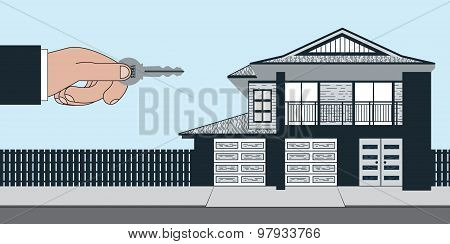 A real estate agent handing over a key to a new house. The 2 story house has two garage bay doors and an open balcony sitting infront of a sidewalk and street. poster