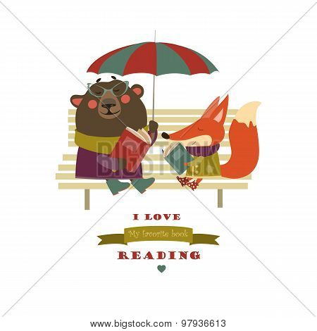 Cute fox and funny bear reading books on bench