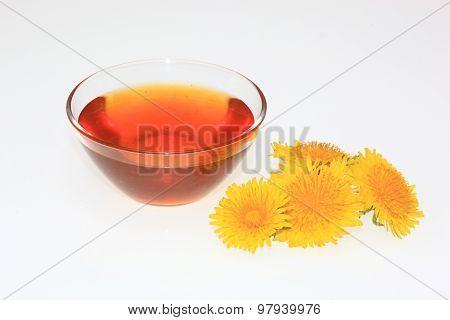 dandelion syrup dandelion honey with dandelion blossom poster