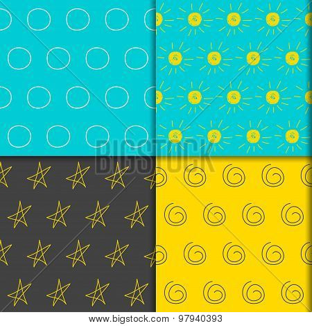 Doodle Seamless Pattern Collection. Hand-drawing Simple Graphic  Isolated Elements Set