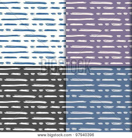 Hand-drawing Doodle Lines Seamless Pattern Background. Simple Graphic Elements Set