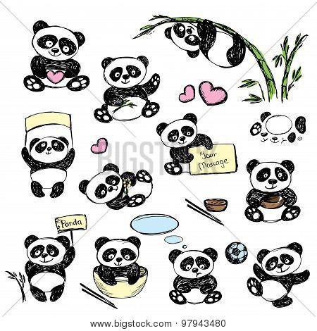 Set Cute Panda In Various Poses, Hand Drawing