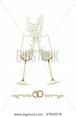 Wedding champagne glasses vector illustration