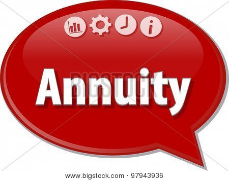 Speech bubble dialog illustration of business term saying Annuity