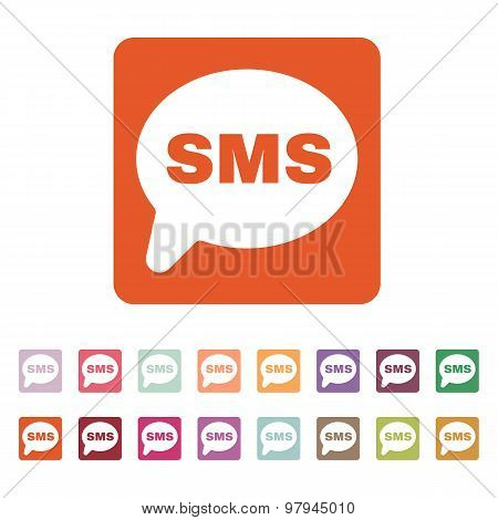 The sms icon. Text message symbol. Flat Vector illustration. Button Set poster