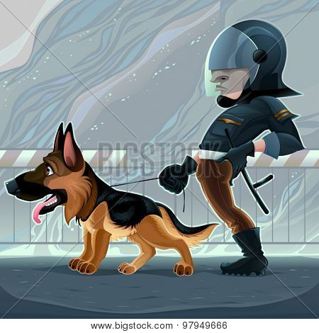 Cop with dog. Vector cartoon illustration