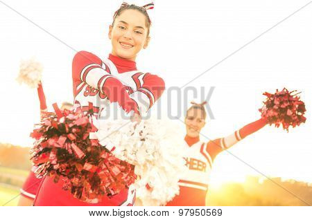 Group Of Cheerleaders Performing Outdoors  - Concept Of Cheerleading Team Sport Training