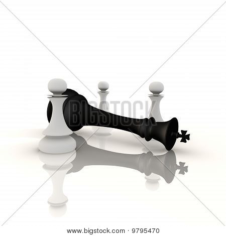 King defeated by pawns - a 3d image