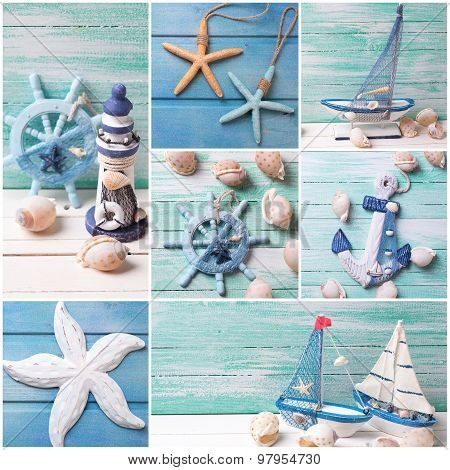 Collage From Photos With Sea Theme Decorations