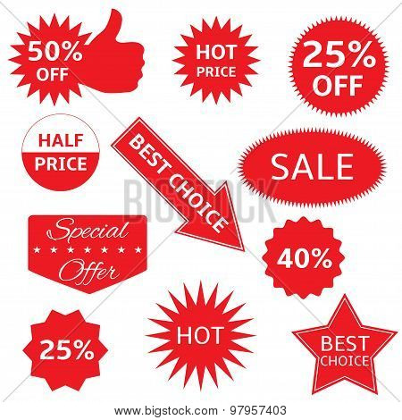 Red shopping labels for e-shop. Hot price, best choice, half price, special offer, sale icon set poster