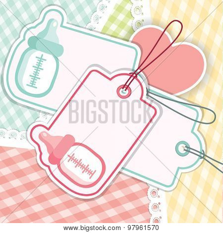 Baby Shower greeting Card for Girl and Boy with Baby Bottle. Vector Background Illustration.