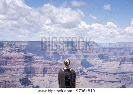 Grand Canyon Hiker Woman Resting Portrait.