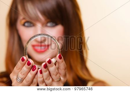 Orient Girl With Makeup Showing Armlet