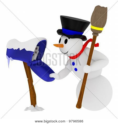 Smiling Snowman With Mailbox