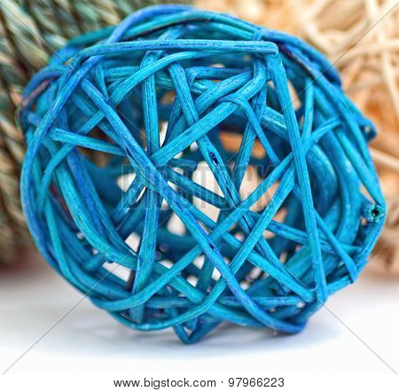 Blue Rattan Ball