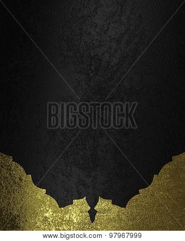 Black Velvet Background With Gold Edges. Element For Design. Template For Design. Copy Space For Ad