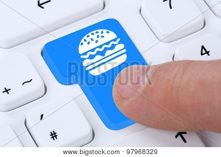 Ordering Hamburger Cheeseburger Online Fast Food Order Delivery Fastfood Internet