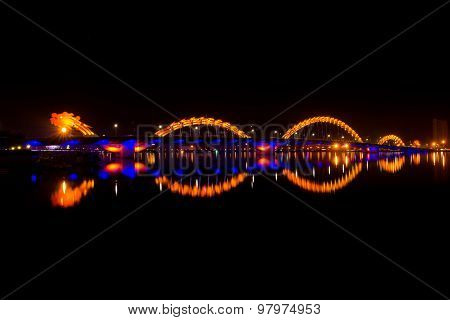 Dragon bridge in Danang at night