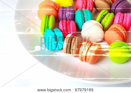 Blurred Colorful Macarons Dessert With Vintage Pastel Tones Made Dept Of Field.abstract