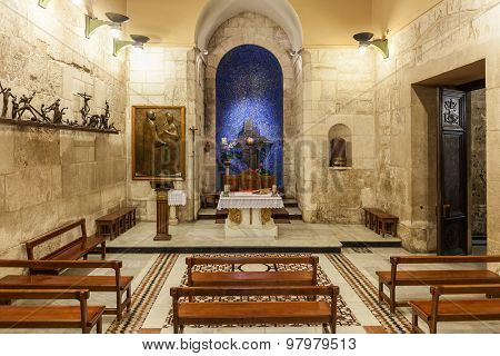 JERUSALEM, ISRAEL - JULY 26, 2015: Chapel of the Blessed Sacrament - exists since 11th century restoration of Constantine Monomachus and located inside of the Church of the Holy Sepulchre.