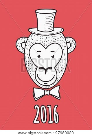 Vector Hand Drawn Face Of Elegant Fashionable Monkey Aristocrat. 2016 Happy New Year Greeting Card.