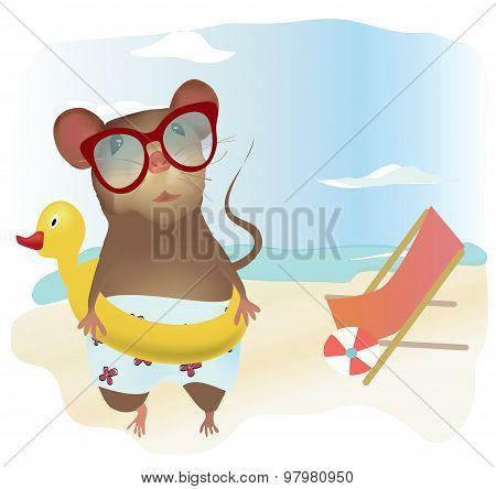 Little Cartoon Mouse in Swimsuit