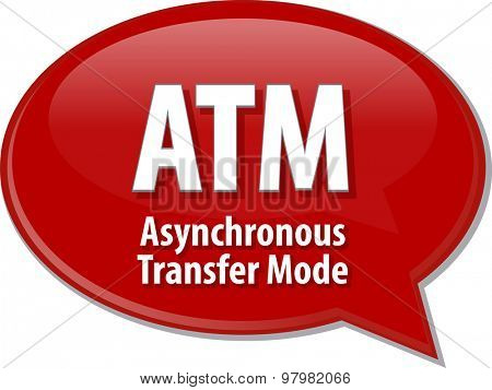Speech bubble illustration of information technology acronym abbreviation term definition ATM Asynchronous Transfer Mode