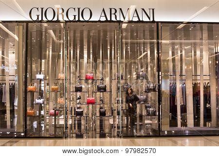 Front View Of Giorgio Armani Store In Siam Paragon Mall. Bangkok, Thailand.