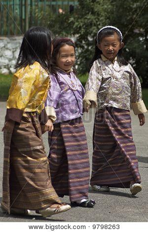 Three Little Bhutanese Girls