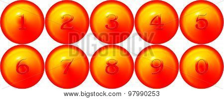 Golen ball and Numeric 0 to 9 on white background poster