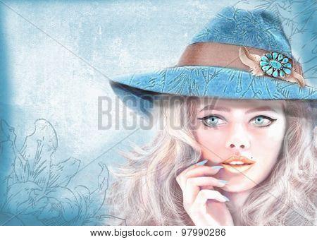 Hand Drawn Fashion Girl. American Hippie Bohemian Boho Style.