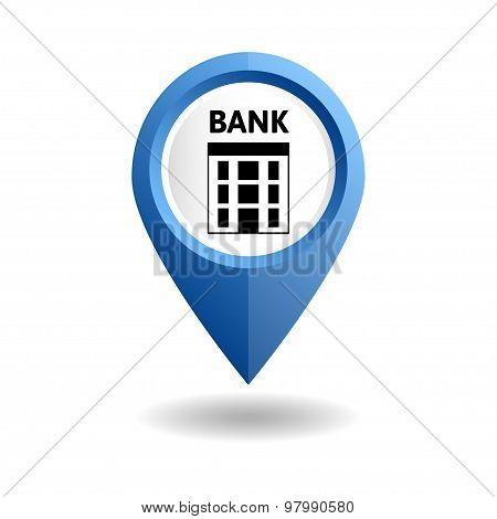 Vector illustration. Blue map pointer with a bank icon. GPS location symbol. Flat design style. Building of a bank. Location of banking services. poster