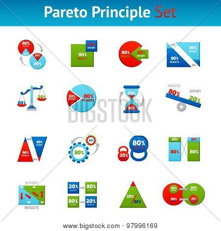 Pareto principle flat icons set