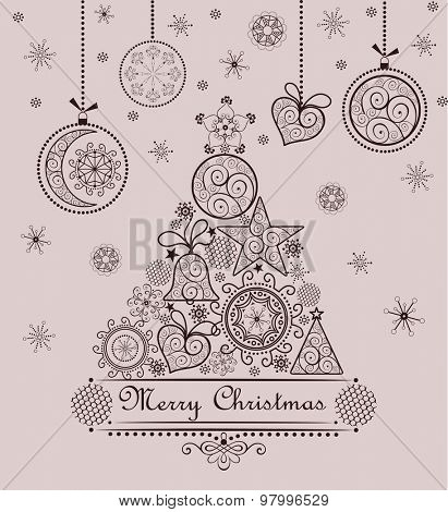 Retro seasonal greeting with lacy xmas tree and hanging baubles
