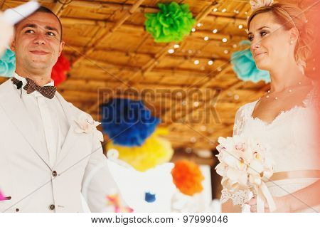 Beautiful  Gorgeous Blonde Bride With Orchids And Stylish Groom, Hawai Colorful Ceremony  On Cyprus